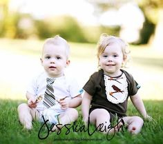 $38.99Twin Boy and Girl Baby Onesie Gift Set in Brown and White