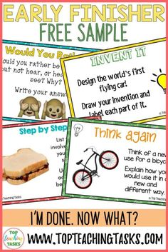 "Early Finishers Activities are a must in your classroom. We have all heard the dreaded, ""I'm Done, Now What? Physics Classroom, Primary Classroom, Classroom Ideas, Early Years Teaching, Teaching Materials, Materials Science, Early Finishers Activities, Higher Order Thinking, Third Grade Science"