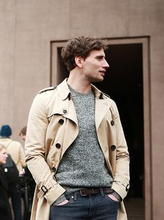 British actor Edward Holcroft in Burberry outside the show space