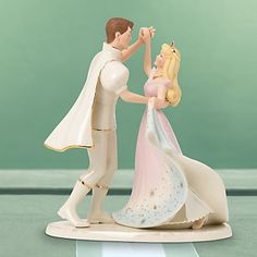 """Once Upon a Dream"" Sleeping Beauty wedding cake topper, Lenox Limited Edition. Crafted of ivory fine china decorated with 24 karat gold in honor of the Walt Disney animated film's 50th anniversary in 2009. Issued in a limited edition of 5,000."