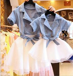Double-Breasted Jeans Tutu Dresses Mother And Daughter Bow Dress Mother And Daughter Clothes LGC07-56 Online with $31.47/Piece on Maizhanqiang's Store | DHgate.com