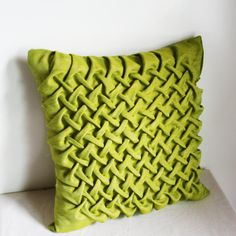 Handmade 1960s Vintage Inspired Square Smocked Decorative Throw Pillow Dupion Silk Kiwi Green