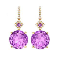 Purple amethyst and diamonds set in 18ct yellow gold