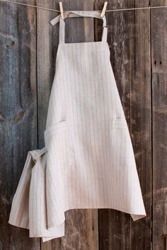 Linen Kitchen APRON with Dish Cloth -gray with red stripes.Unisex apron.Kitchen apron.Stripped apron.Organic linen apron.Apron with pockets....