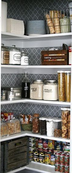 wallpaper in the pantry- pick a great pattern and a neutral color= perfect.
