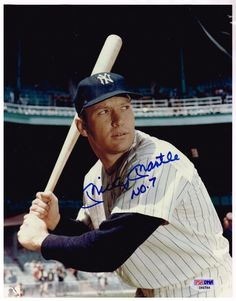 Yankee Mickey Mantle signed baseball and color photograph with PSA/DNA COA's #NewYorkYankees