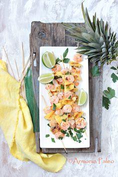 Spiedini di Mazzancolle con Ananas e Cocco