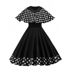 6027c54cd6ae Women Vintage Rockabilly Pinup Polka Dots Flare Swing Evening Formal Party  Dress with Cloak Retro Prom Dresses