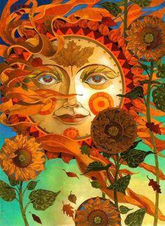 'Autumn Sun' - by David Galchutt <> (sun, moon, stars state of mind) Sun Moon Stars, Sun And Stars, The Sun, Psychedelic Art, Fantasy Kunst, Fantasy Art, Fantasy Paintings, Art Soleil, Art Hippie