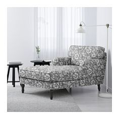 STOCKSUND Chaise, Hovsten gray/white, black/wood - Hovsten gray/white - black - IKEA