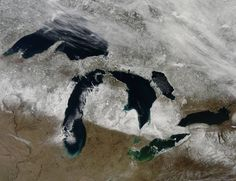 Satellite view over Wisconsin, Michigan and Canada, featuring the Great Lakes of North America in winter. Lake Erie, Lake Huron, Lake Michigan and Lake Ontario. State Of Michigan, Michigan Travel, Northern Michigan, Lake Michigan, Wisconsin, Michigan Facts, Michigan Vacations, Detroit, Thing 1