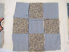 35-Vintage-Hand-Sewn-Feed-Sack-Old-Cotton-Fabrics-NINE-PATCH-QUILT-BLOCKS