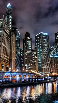 city, usa, chicago, night, lights, hdr