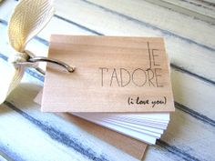 Vancouver, BC: Je t'adore Notepad  Mini wood notebook 3 x 2 by quotesandnotes, $15.00