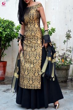 Buy Black Brocade Padded off Shoulder Kurta Online in India Sharara Designs, Lehenga Designs, Silk Kurti Designs, Kurta Designs Women, Kurti Designs Party Wear, Fancy Dress Design, Stylish Dress Designs, Stylish Dresses, Indian Fashion Dresses