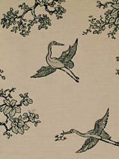 The Cranes from Florence Broadhurst via Signature Prints #fabric #cotton #black