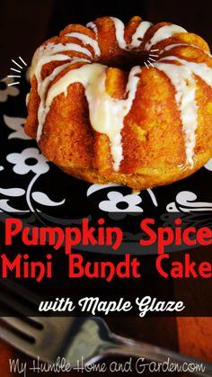 Easy Cake Recipes, Pumpkin Recipes, Fall Recipes, Mini Bunt Cake Recipes, Bunt Cakes, Cupcake Cakes, Mini Bundt Cake, Mini Desserts, Delicious Desserts