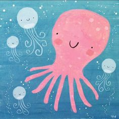Cute octopus and jelly fish Octopus Illustration, Pattern Illustration, Children's Book Illustration, Cute Octopus, Cute Fish, Fish Print, Art For Kids, Jelly Fish, Art Prints