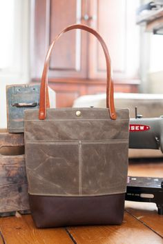 25164b144b0 Rugged Everyday Tote With Leather Bottom by DryGoodsSupplyCo One Bag, Waxed  Canvas, Leather Handle