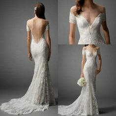 Sexy Off Shoulder Lace Wedding Dress 2015 Vintage Champagne Low Back Mermaid Short Sheer Sleeves Elegant Court Train Backless Bridal Dresses Mermaid Evening Gowns Mermaid Style Dresses From Wanyuweddingdress, $141.71  Dhgate.Com
