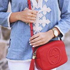 Love the red, edgy Gucci with the boho peasant blouse. Contrasts nicely.