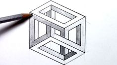 How-to-draw an Optical Illusion - Escher Cube