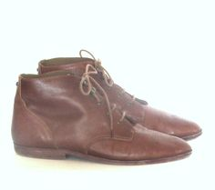 Vintage 80s Ankle Boots Brown Leather Laceup Granny Boots Womens Sz 8.5M by…