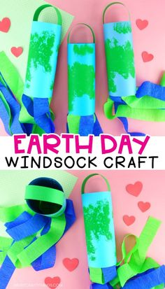 Celebrate Earth Day this year by making these gorgeous Earth Day windsocks. This simple Earth Day craft is easy for preschoolers and kids of all ages to create and it makes a great decoration to display at home or inside the classroom. games for kids Earth Day Activities, Spring Activities, Holiday Activities, Craft Activities, Earth Day Projects, Earth Day Crafts, Projects For Kids, Earth Craft, Preschool Crafts