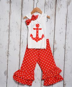 Beary Basics Red Anchor Tank & Ruffle Pants - Infant, Toddler & Girls | zulily