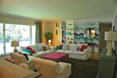 colorfull and white cozy living room