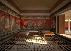 Reconstruction of the Triclinium. Villa of the Mysteries - AD79eruption