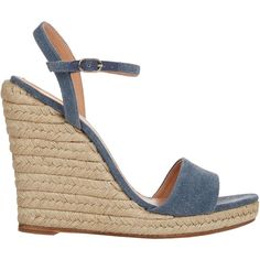 Barneys New York Denim Wedge Espadrille Sandals ($250) ❤ liked on Polyvore