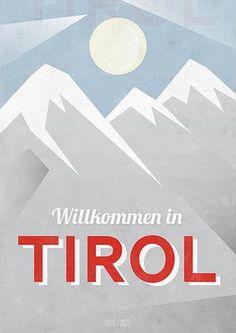 Vintage ski poster: Wilkommen in Tirol #ski