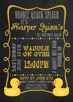 A Rubber Ducky Birthday Party. My daughter's favorite toy was her rubber ducky, so a rubber ducky party it was! Rubber Duck Birthday, Rubber Ducky Party, First Birthday Brunch, Boy Birthday Parties, 2nd Birthday, Birthday Ideas, Brunch Party Decorations, First Birthday Invitations, Project Nursery