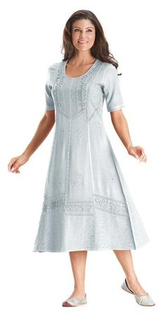 Silver Pewter Andra Victorian Lace Renaissance Embroidered Tea Length Dress - Silver- with red shoes!