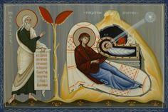 Miniature Icon Nativity Of Christ With Prophet Isaiah. 2010 Olga Shalamova