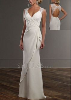 V-neck chiffon and lace wedding gown features soft draping and lace sleeves and keyhole back. The skirt wraps around into a court train embellished with fabric-covered buttons - 1640792 - Wedding Dresses