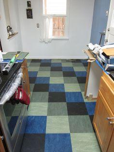 Jade, Eucalyptus, Blue (!) and Black. Marmoleum floor tiles Four Colors | Flickr - Photo Sharing!