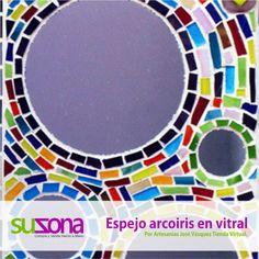 #Espejo Arcoiris #Vitral Técnica: Vitral #Diseños exclusivos, objeto #decorativo. $140,000 COP