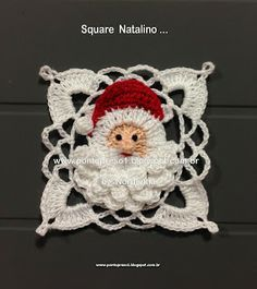 Santa Motif; Crochet Square. //  ♡ THIS IS SO VERY SWEET!!!  AND SANTA IS BEAUTIFUL! ♥A
