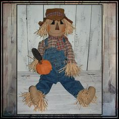 toddler size primitive country style scarecrow by lazydayzlucy #porch doll #halloween decor #fall decoration