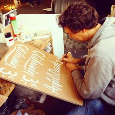 Me painting some signs for @urban_spree #glühwein #apfelstrudel #signs #scriptlettering in #berlin