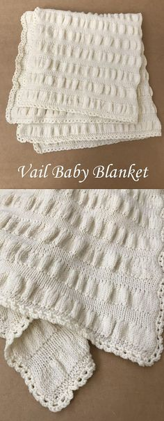 Knit Baby Blanket Pattern - Ruffle Baby Blanket by Deborah O'Leary Patterns  #knitting #baby