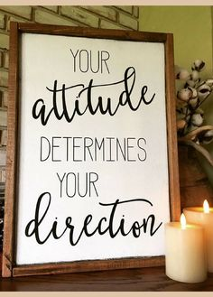 So much truth in this quote! Your attitude determines your direction Wood Sign - Farmhouse sign - Inspirational wall decor - Teacher Gift idea - Positive thinking - Motivational decor, Rustic decor, Rustic sign, Farmhouse decor, home decor, home office wall decor #ad