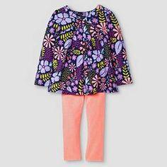 Baby Girls' Top and Bottom Legging Set Floral Purple - Cat & Jack™ : Target