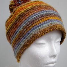 Bonnet pour homme - tons marron, orange, jaune et bleu