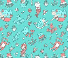 mermaids & cats fabric by kostolom3000 on Spoonflower - custom fabric