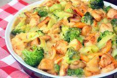 Broccoli-ovenschotel met kip, champignons en krieltjes 2 kipfilets, in blokjes gesneden 400 g voorgekookte krieltjes, gehalveerd 400 g champignons, in kwarten gesneden 1 broccoli – in kleine roosjes gesneden, stronk geschild en in plakjes 1 oranje paprika, in repen gesneden Paprikapoeder Boter of olie om in te bakken Zout en peper uit de molen
