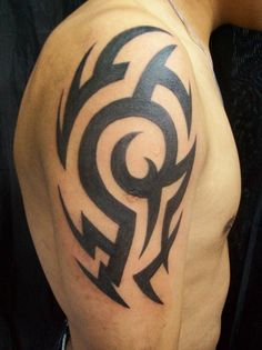 Black Tribal Tattoo On Man Right Half Sleeve - pictures, photos, images