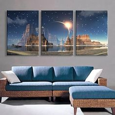 E-HOME® Stretched LED Canvas Print Art The Candle Flash Effect LED Flashing Optical Fiber Print Set of 3 - USD $ 75.59